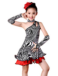 Latin Dance Outfits Children's Performance Spandex / Milk Fiber Ruffles 4 Pieces Sleeves / Dress / NeckwearDress length S(110):57cm /