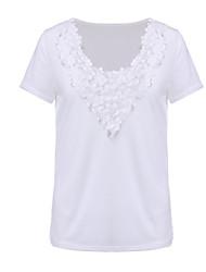 Damen Patchwork Einfach Lässig/Alltäglich T-shirt,V-Ausschnitt Alle Saisons Kurzarm Weiß Polyester Dünn