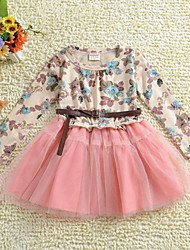 Girl's Pink Dress , Floral / Dresswear Cotton Fall