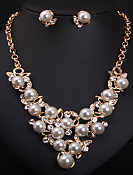 May Polly Europe pearl diamond necklace earrings set short clavicle