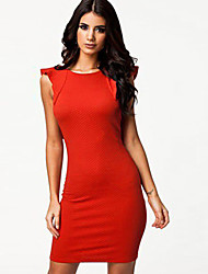 Women's Party / Cocktail / Casual / Day Solid Bodycon Dress , Round Neck Above Knee Cotton / Polyester