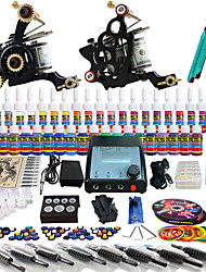 Solong Tattoo Complete Tattoo Kit 2 Pro Machines 40 Inks Power Supply Foot Pedal Needles Grips Tips TK229