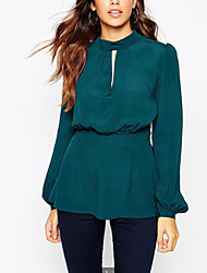 Women's Solid Green Blouse , Stand Long Sleeve