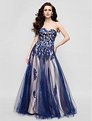 A-Line Sweetheart Floor Length Tulle Formal Evening Black Tie Gala Dress with Beading Appliques by TS Couture®