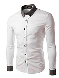 Shirts Tuxedo (Wing Collar) Long Sleeve Cotton Solid Black / Light Blue / White / Light Grey