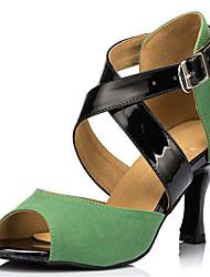 Chaussures de danse(Vert) -Personnalisables-Talon Personnalisé-Flocage-Latine Salsa