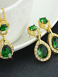 Luxury Crystal Drop Gold Jewelry Set For Women Necklace With Earrings