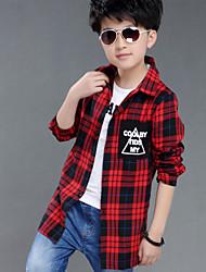 Boy's Cotton Spring/Fall Fashion Applique Pattern Applique Pocket Check Shirt