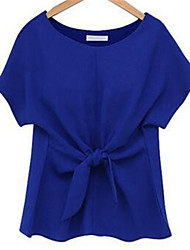 Women's Solid Blue / Pink / White Blouse , Round Neck Short Sleeve
