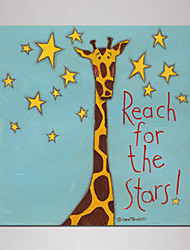 Mini Size Cartoon giraffe Painting Canvas Print One Panel Ready to Hang