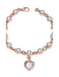 Fashion Sweet Women's Love Rhinestone  Rose Gold Plated Tin Alloy Chain & Link Bracelet(Rose Gold)(1Pc)