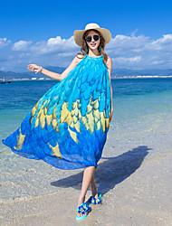 Women's Beach Maxi Dresses Printing Chiffon Plus Size Show Thin Bohemia Dresses
