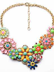 European Retro Fashion Flower Short Necklace Alloy Statement Necklaces 1pc