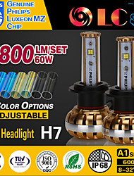 liancheng® 60w 7800lm 9 ~ 32V hoge helderheid geleid koplamp-kit h7 voor auto, off-road, utv, atv