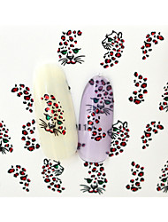 10PCS 3D Water Transfer Red Leopard Veins Nail Art Sticker DIY Decoration  Nail Tools Nail Tips BLE1011D