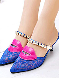 Women's Shoes Tulle Stiletto Heel Heels / Slippers Heels / Slippers Casual Blue / Gold