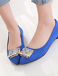 Women's Pointed Toe Leatherette Outdoor / Office & Career / Casual Flat Heel Crystal Black / Blue / Red