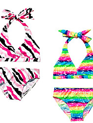 Summer Sleeveless Rainbow/Fuchsia Black White Stripe Separated Swimming Suit 2pcs Bikinis Suit for 3~12Y Baby Girls