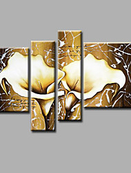 """Ready to Hang Stretched Hand-painted Oil Painting 52""""x44"""" Canvas Wall Art Modern Flowers White Lily Beige"""