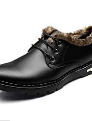 Men's Comfort Leatherette Outdoor Low Heel Black / Brown