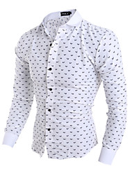 New Arrival Men's Slim casual long-sleeved shirt collar shirt printing Cotton / Polyester Casual / Sport Print