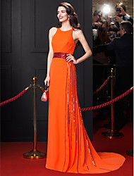 TS Couture® Dress-Orange Sheath/Column Jewel Court Train Chiffon