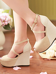 Women's Shoes Heel Wedges / Heels / Peep Toe / Platform Sandals / Heels Outdoor / Dress / CasualBlack / Blue / Almond