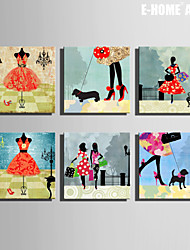 E-HOME® Stretched Canvas Art  Fashion Woman Series Decoration Painting MINI SIZE One Pcs