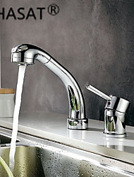 PHASAT® Deck Mounted Single Handle Two Holes with Chrome Kitchen faucet