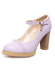 Women's Shoes  Chunky Heels / Round Toe Heels Outdoor / Office & Career / Casual Pink / Purple / White