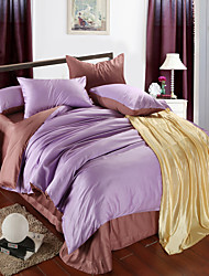 Light purple andlight brwon 100% Tencel Soft Bedding Sets Queen King Size Solid color Duvet Cover Set