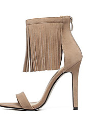 Women's Shoes Fleece Stiletto Heel  Open Toe Sandals Dress Almond