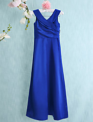 LAN TING BRIDE Floor-length Charmeuse Junior Bridesmaid Dress Sheath / Column V-neck Natural with Side Draping