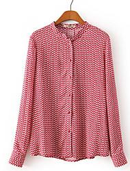 De las mujeres Camisa-Botón Escote Chino-Poliéster-Manga Larga