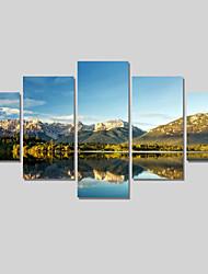 Paisagem / Moderno Impressão em tela 5 Painéis Pronto para pendurar , Horizontal