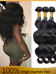 4bundles pelo humano virginal brasileño teje la onda del cuerpo del pelo del pelo 8-26 pulgadas venta caliente negro natural.