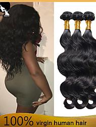 4bundles cabelo humano virgem onda do corpo do cabelo brasileiro tece cabelo 8-26 polegadas Venda preto quente natural.