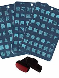 3pcs nail plaques + Stamper + racleur ongles diy polish outils de moule nail art l'image d'impression conceptions de beauté