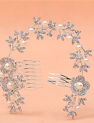 The New Type Of Multi-Functional Long Bride Combs Pearl Diamond Alloy Headdress