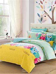 favorita de ropa de cama de matrimonio búho establecido algodón suave sábana niños lindos del diseño de edredón juegos de sabanas cama