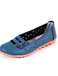 Women's Shoes Leather Flat Heel Round Toe Sandals Outdoor / Casual Blue / White / Orange / Burgundy