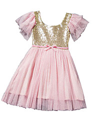 Girl's Solid Dress,Polyester Summer Blue / Pink / Purple / Red / White