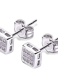 Stud Earrings Cubic Zirconia Platinum Plated Fashion White Jewelry 2pcs