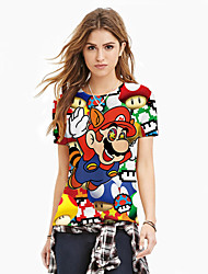 Women's Floral Multi-color T-shirt , Round Neck Short Sleeve