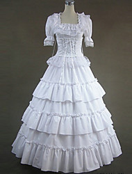 Gothic Lolita Dress  White Lace Gown Vintage Gothic Victorian Dress Cosplay Costumes