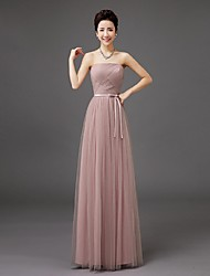 Floor-length Tulle Bridesmaid Dress - Sheath / Column Strapless with Bow(s)