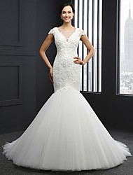 Trumpet / Mermaid Wedding Dress Chapel Train Jewel Tulle with Appliques