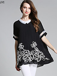 Summer Vintage Fashion Women Plus Size Embroidery Floral Chiffon Patchwork Organza Stripe Blouse Top