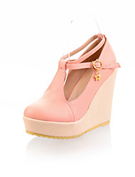 Zapatos de mujer - Tacón Cuña - Tacones / Plataforma - Tacones - Exterior / Vestido / Casual - Semicuero - Rosa / Beige / Almendra