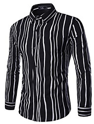 Men's Long Sleeve Shirt , Cotton Casual Striped / Color Block